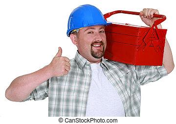 Tradesman, carrying, toolbox, giving, thumb's, up