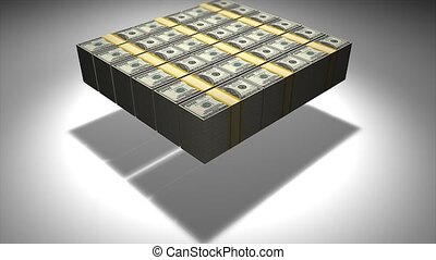 Pile of money smashed to the ground 3d animation.