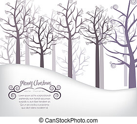 background of snow, trees and snowflakes, vector...