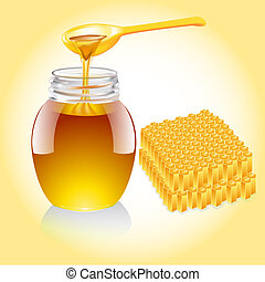 honey current from spoon and honeycomb - illustration honey...