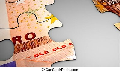 Puzzle Euro - Euro bank note puzzle concept animation.