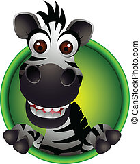 cute zebra head cartoon - vector illustration of cute zebra...