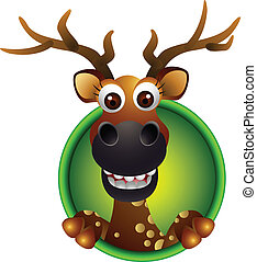 cute deer head cartoon - vector illustration of cute deer...