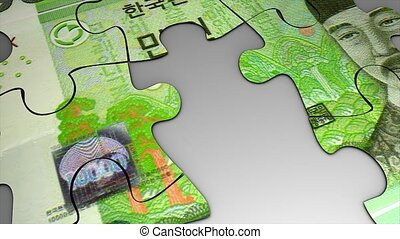 Puzzle Won - Korea Won bank note puzzle concept animation.