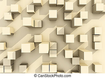 Abstract of building box 3d rendering