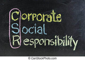 hand writing corporate social responsibility ( CSR ) concept...