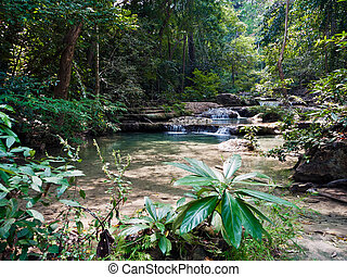 Tropical landscape. Erawan Reserve in northern Thailand.
