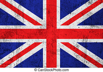 Grunge British Flag, Old Metal Textured - Grunge Dirty and...