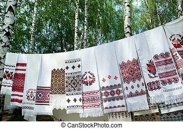 Ukrainian towels with bir