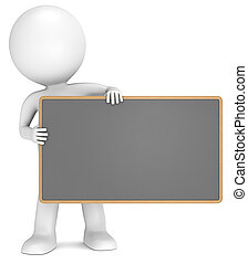 Black Board - 3D little human character The Messenger...