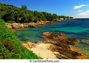 Mediterranean coast of French Riviera - Scenic view of...