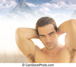 Man beauty - Very handsome young man against heavenly...