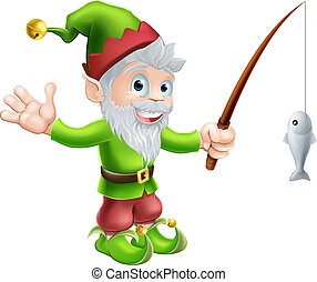 Garden gnome with fishing rod - Illustration of a cute happy...