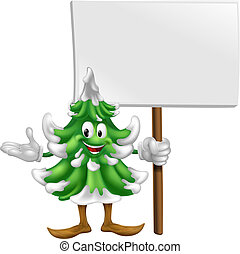 Christmas tree mascot with sign - Illustration of a happy...