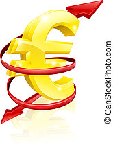 Euro exchange rate concept or concept for changing income or...