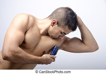 young shaving the armpit, - Shaving, male beauty, on blue...