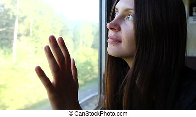 train, window, female,