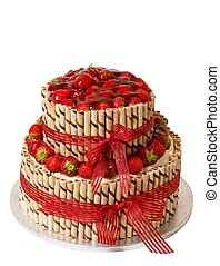 Traditional strawberry cake - Traditiona strawberry cake on...