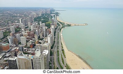 Chicago Lake Shore - Looking north from Hancock Tower,...