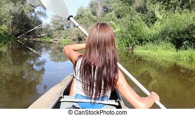 kayak, river, girl