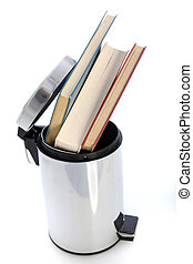Waste paper bin filled with books - Cylindrical metal waste...