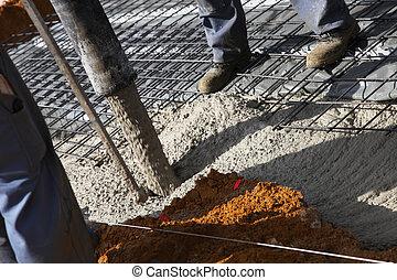 trabalhadores, Despejar, cimento, fundações