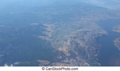 Aerial Of Kelowna And Lake Okanagan - An aerial view of the...