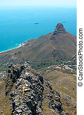 Image of lions head taken from table mountain in cape town,...