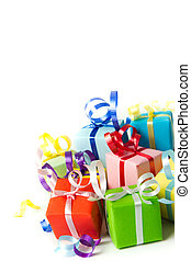Gift boxes - Multi color gift boxes with ribbon isolated on...
