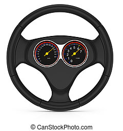 dashboard on steering wheel isolated on white background 3d...
