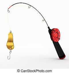 ice fishing rod with spoon on white background. 3d render