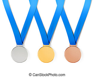 medals with path - Collection of sports medals on white...