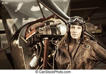 hermoso, mujer, pilot:, vendimia, foto
