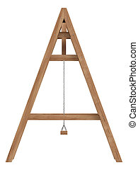 Wooden A-frame with swings to be used in a garden for the...
