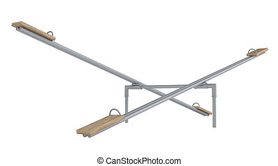Playground seesaw or teetertotter - Dual playground seesaw...