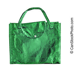 Green shopping bag isolated on a white with clipping path