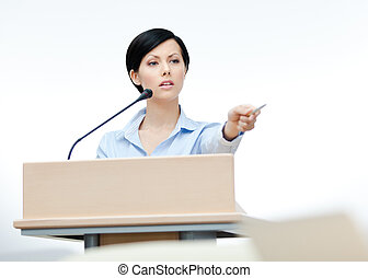 Female orator at the board - Female lecturer at the board...