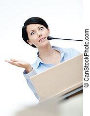 Woman executive at the podium