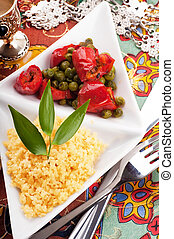 Couscous with green-stuffs and Arabic tableware, east...
