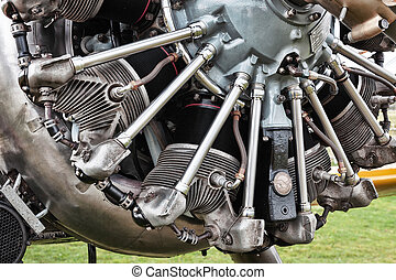 Close-up vintage aeroplane engine