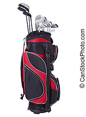 Golf bag and clubs isolated - Red and black golf bag with...