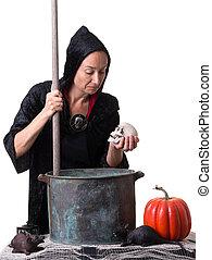 a, sorcière, cuisine, haut, potion