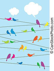 birds sitting on wire, vector