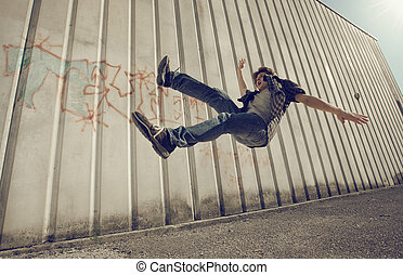 Fall down - Young man falling from a building