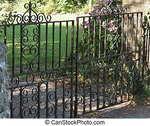 Gates wrought iron - Two wrought iron decorative garden...