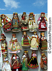 Hand-made dolls - Ukrainian dolls in traditional clothing on...
