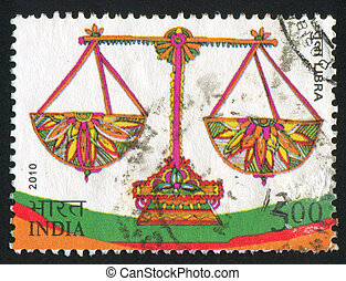 Libra - INDIA - CIRCA 2010: stamp printed by India, shows...