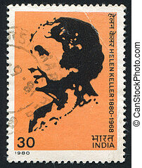 Helen Keller - INDIA - CIRCA 1980: stamp printed by India,...