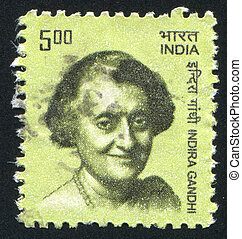 Indira Gandhi - INDIA - CIRCA 1983: stamp printed by India,...