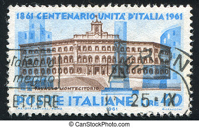 Carignano palace in Turin - ITALY-CIRCA 1961: stamp printed...